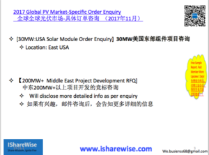 USA Module Enquiry |2017 Global PV Order Enquiry and PV Demand Brief | Consulting eShop Financing |光伏云享慧